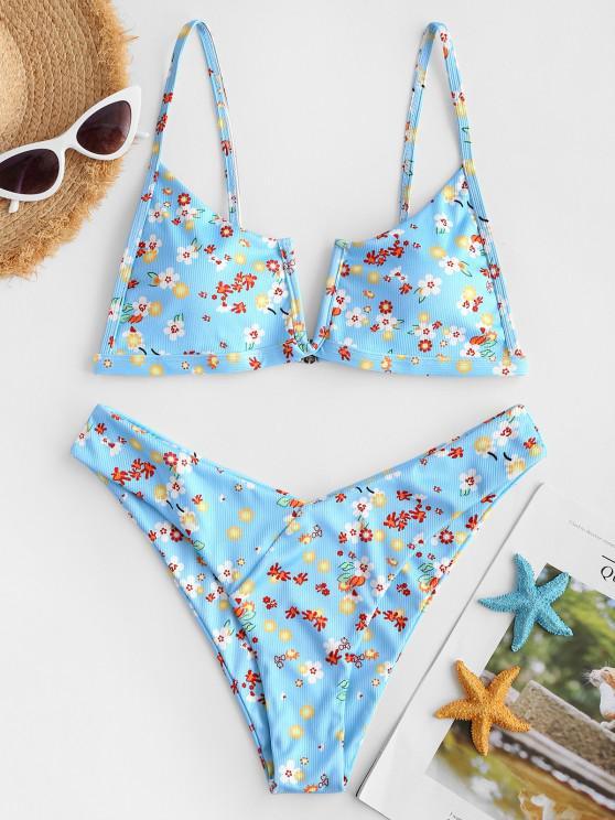 buy ZAFUL Floral Ribbed V Notch High Cut Bikini Swimwear - LIGHT BLUE M