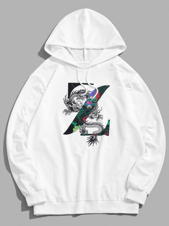 lady Dragon Oriental Pattern Hoodie - WHITE S