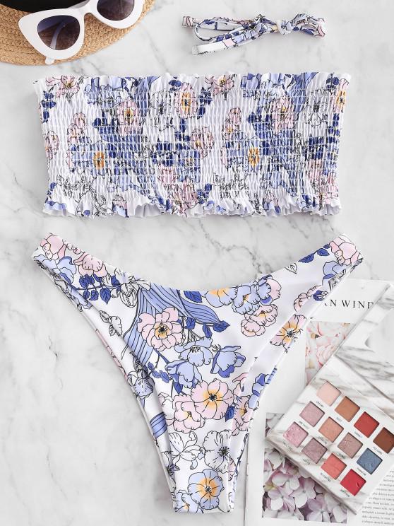 ZAFUL Floral High Cut Bandeau Smocked Bikini Swimwear - أبيض S