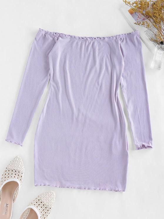online ZAFUL Off Shoulder Lettuce Trim Ribbed Bodycon Dress - WISTERIA PURPLE S