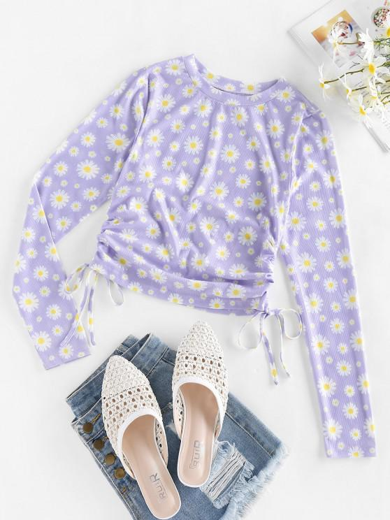 outfits ZAFUL Ribbed Daisy Print Cinched T-shirt - MAUVE M