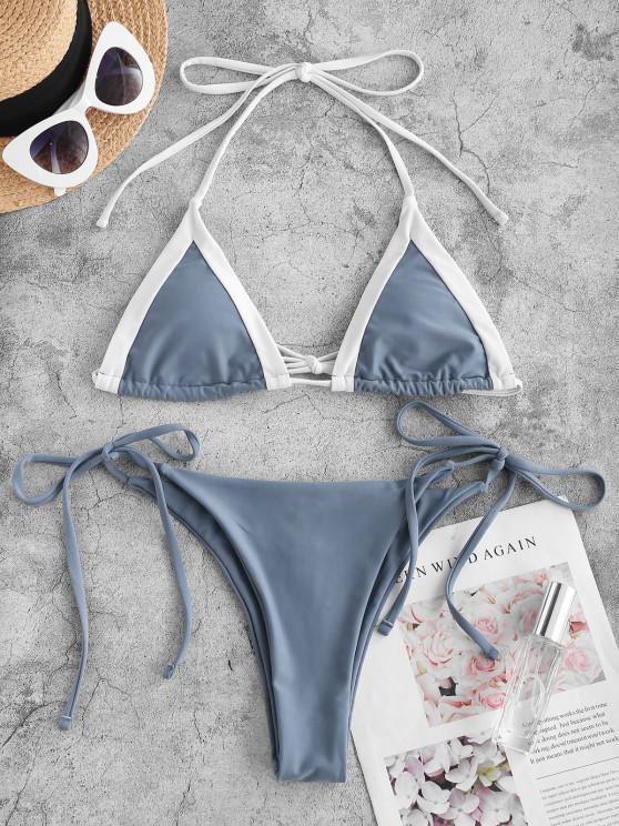 online ZAFUL Halter Two Tone Tie String Bikini Swimwear - DEEP BLUE S