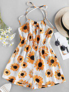 ZAFUL Sunflower Print Halter Romper - White M