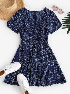 Ditsy Print Plunging A Line Tea Dress - Deep Blue L