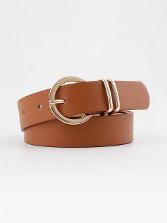 Decorative Round Pin Buckle Belt - Light Brown
