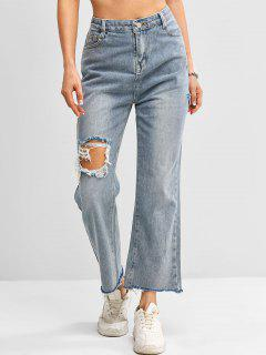 Distressed Frayed Hem High Waisted Straight Jeans - Blue S