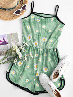 Tie Dye Daisy Ringer Cami Romper - Light Green M