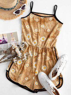 Tie Dye Daisy Ringer Cami Romper - Deep Yellow M