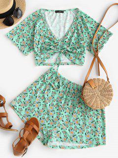 ZAFUL Ribbed Daisy Print Cinched Raglan Sleeve Shorts Set - Light Green M