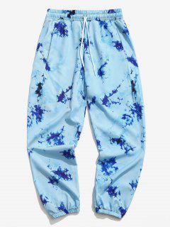 Tie Dye Print Elastic Waist Jogger Pants - Sea Blue 3xl