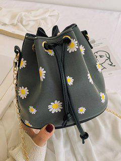 Daisy Print Drawstring Chain Bucket Bag - Dark Gray