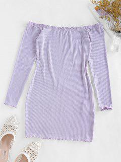 ZAFUL Off Shoulder Lettuce Trim Ribbed Bodycon Dress - Wisteria Purple M