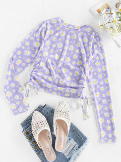 ZAFUL Ribbed Daisy Print Cinched T-shirt - Mauve S