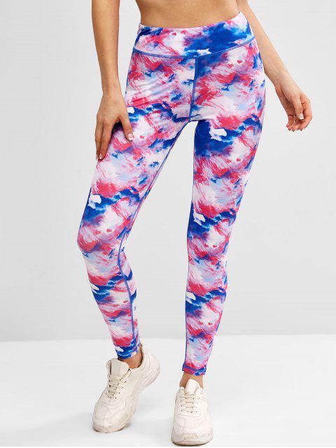 ladies Tie Dye Topstitch High Waisted Gym Leggings - BLUE L Mobile