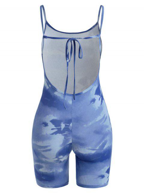 ladies Tie Dye Ribbed Backless Biker Romper - BLUE L Mobile
