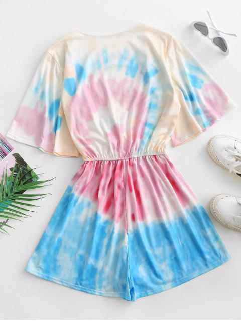 Mono Femenino de Tie Dye con Escote Cruzado con Cintura Elástica - Rosa claro S Mobile