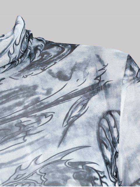 unique Turtleneck Oriental Dragon Print Sheer Mesh Bodycon Dess - GRAY L Mobile