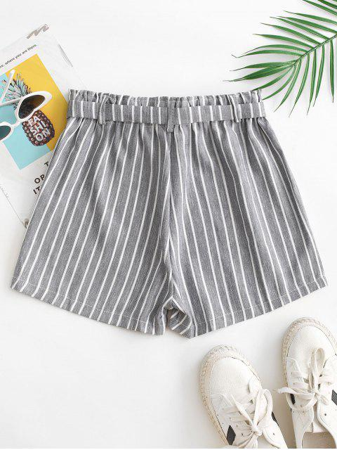women High Waisted Belted Stripes Wide Leg Shorts - GRAY L Mobile