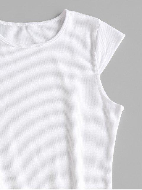 sale Cap Sleeve Ribbed Slit Bodycon Dress - WHITE M Mobile
