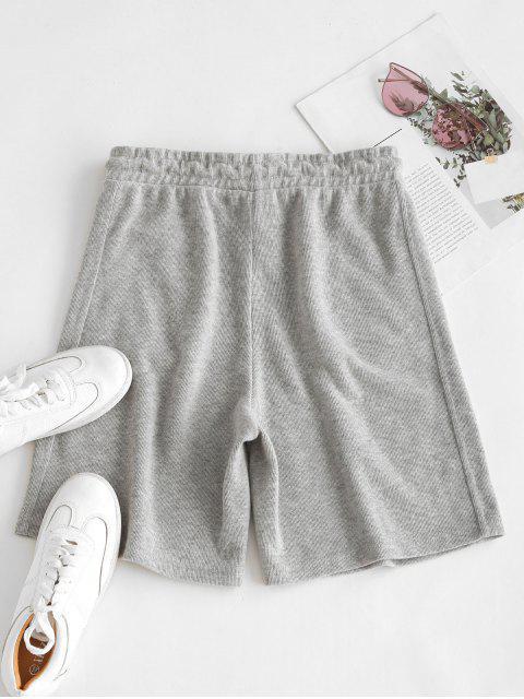 women's Drawstring Seam Pockets Ribbed Bermuda Shorts - LIGHT GRAY XL Mobile