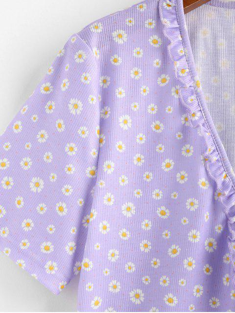 best ZAFUL Daisy Print Ruffle Ribbed Tie Front Top - LIGHT PURPLE XL Mobile