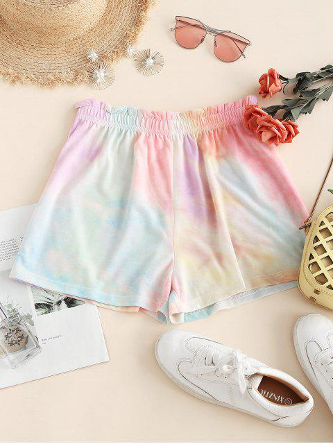 unique Tie Dye Frilled High Rise Shorts - LIGHT GREEN XL Mobile