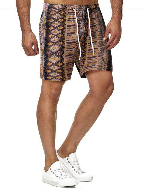 buy Geometry Print Drawstring Bermuda Shorts - MULTI L Mobile