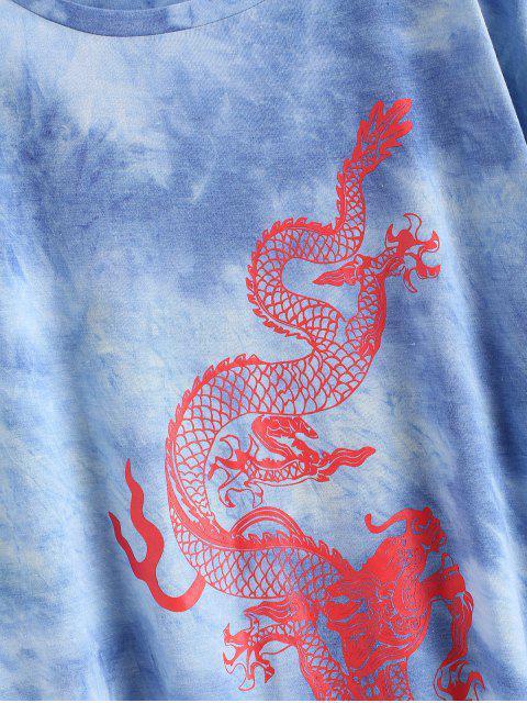ドラゴンは大きいサイズ延縄Tシャツ - 青 XL Mobile