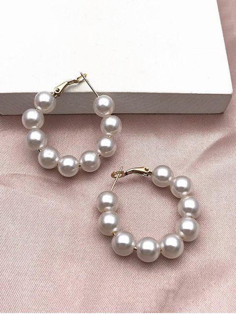 latest Artificial Pearl Hoop Earrings - WHITE  Mobile