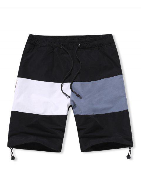 ladies Colorblock Toggle Drawstring Hem Lounge Shorts - BLACK S Mobile