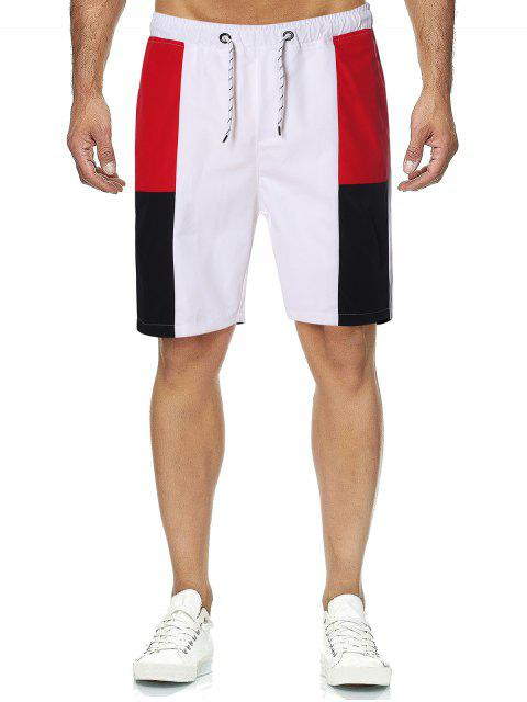 trendy Colorblock Drawstring Beach Casual Shorts - WHITE M Mobile