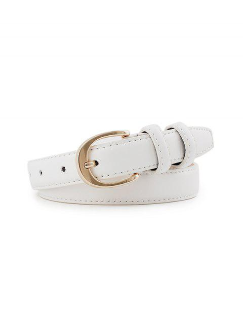 buy Alloy Buckle PU Leather Waist Belt - WHITE  Mobile