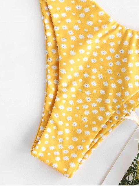 latest ZAFUL Ditsy Print Tie Shoulder High Leg Bikini Swimwear - YELLOW M Mobile
