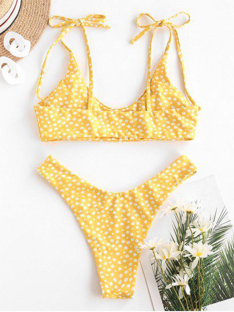 ZAFUL Costume da Bagno Bikini a Gamba Alta con Stampa Incrociata Ditsy - Giallo S Mobile