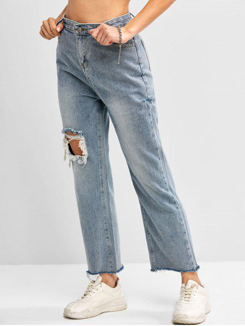 online Distressed Frayed Hem High Waisted Straight Jeans - BLUE S Mobile
