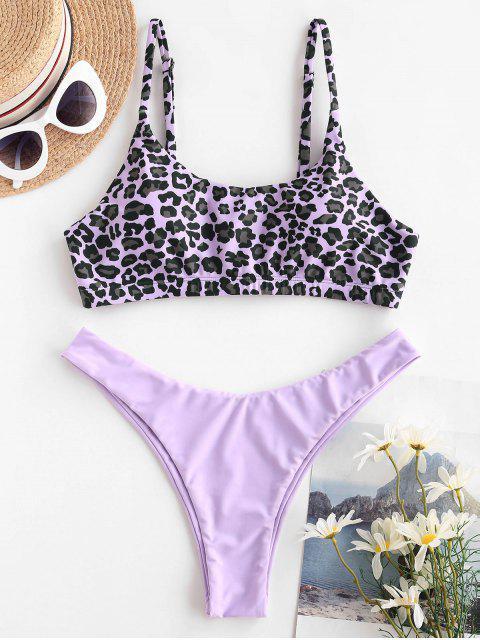 shop ZAFUL Leopard High Leg Mix and Match Bikini Swimwear - LIGHT PURPLE M Mobile