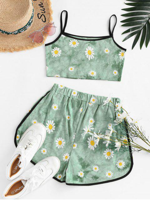 womens Cropped Daisy Print Tie Dye Two Piece Set - LIGHT GREEN S Mobile