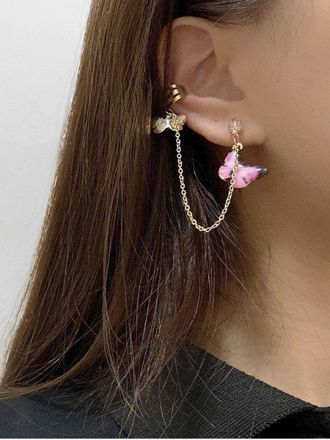 Farbige Schmetterling Anhänger Kette Ohr Manschette - Rosa  Mobile