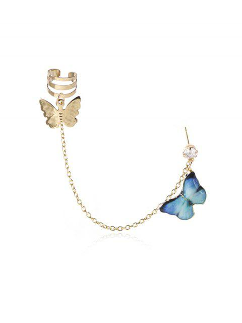 latest Colored Butterfly Pendant Chain Ear Cuff - DEEP SKY BLUE  Mobile