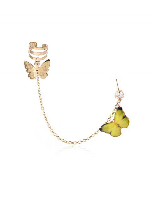 Colored Butterfly Pendant Chain Ear Cuff - الأصفر  Mobile