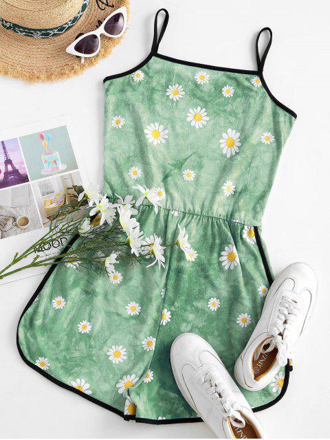 Pagliaccetto Ringer di Tie-Dye con Stampa Margherita - Verde chiaro S Mobile