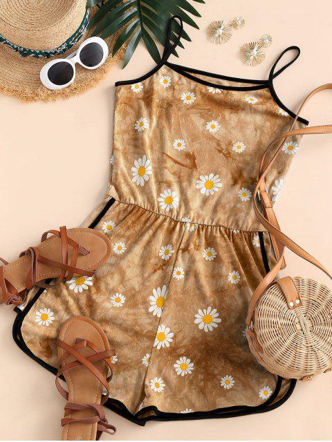 fashion Tie Dye Daisy Ringer Cami Romper - DEEP YELLOW S Mobile