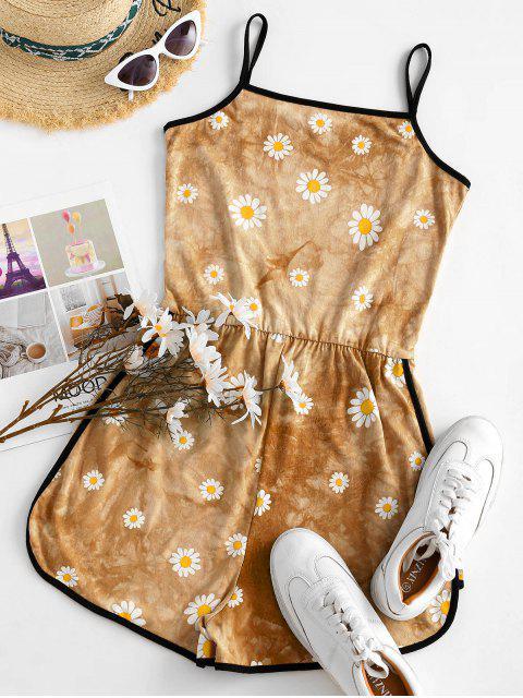 chic Tie Dye Daisy Ringer Cami Romper - DEEP YELLOW M Mobile