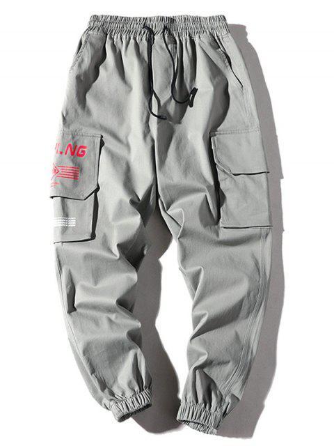 Jogger Pantalones de Estampado de Letras - Gris XS Mobile