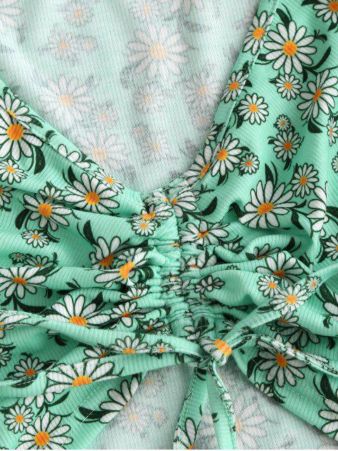 latest ZAFUL Ribbed Daisy Print Cinched Raglan Sleeve Shorts Set - LIGHT GREEN S Mobile