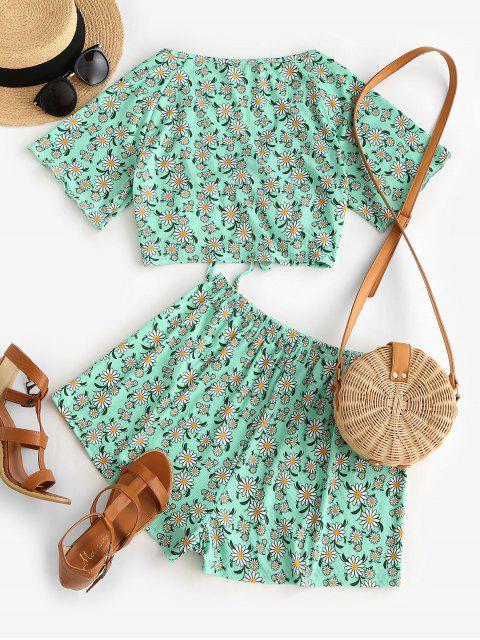 fancy ZAFUL Ribbed Daisy Print Cinched Raglan Sleeve Shorts Set - LIGHT GREEN M Mobile