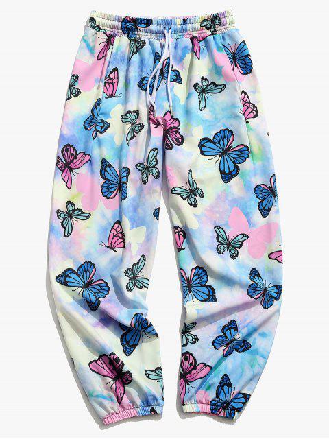 Pantalones Jogger de Tie Dye con Estampado de Mariposa - Color de malva XL Mobile