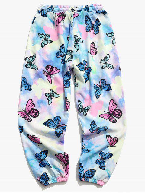 Pantalones Jogger de Tie Dye con Estampado de Mariposa - Color de malva 3XL Mobile