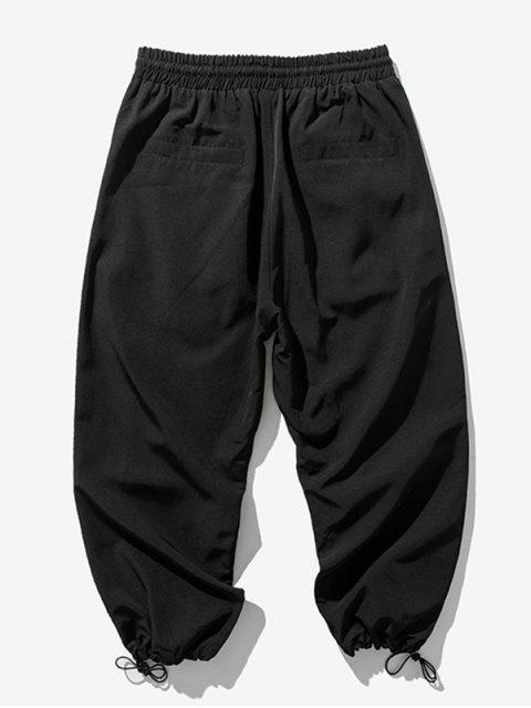 Pantalones Trotar Cintura Elástica Estampado Letra - Negro M Mobile