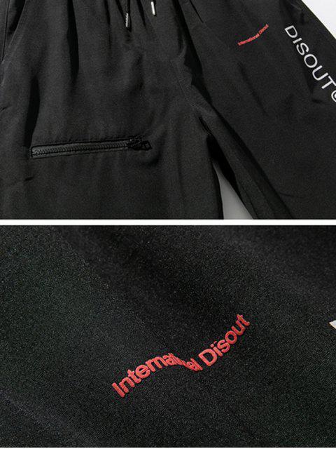 Pantalones Trotar Cintura Elástica Estampado Letra - Negro 3XL Mobile